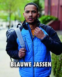 Blauwe gewatteerde jas